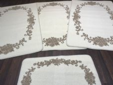 ROMANY GYPSY WASHABLES 2019 FULL SET OF 4 MATS/RUGS ROSES CREAMS/BEIGES NON SLIP